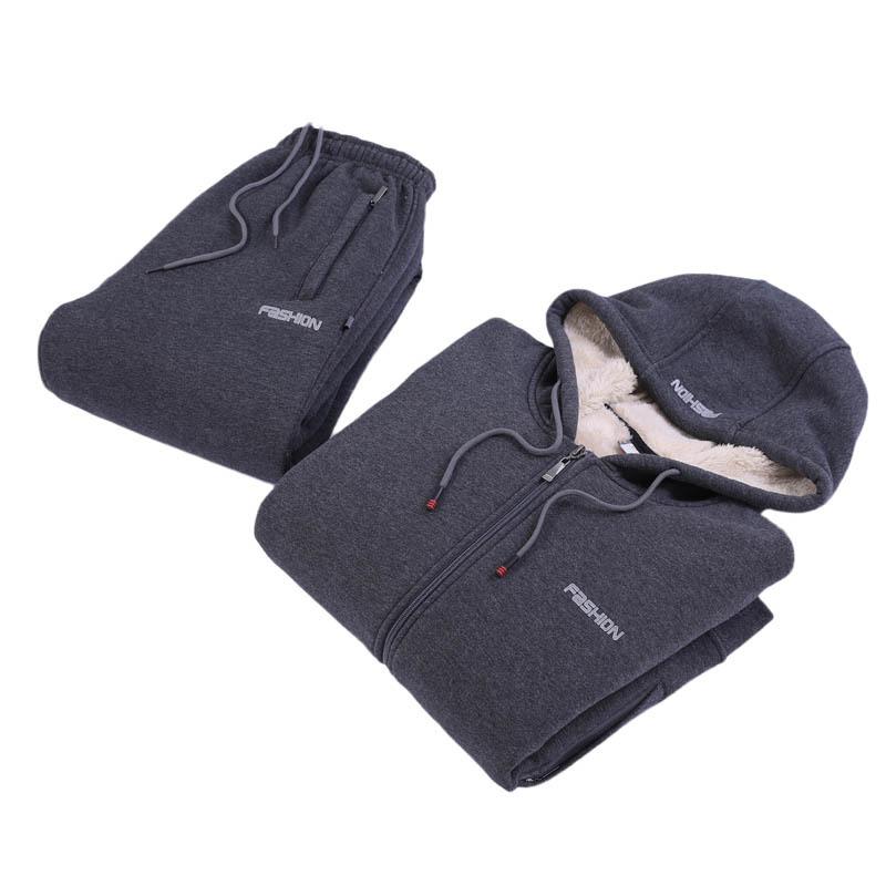 加绒加厚连帽卫衣男士运动休闲套装秋冬季两件套仿羊羔绒保暖上衣
