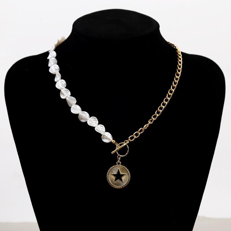 Fashion long five-star asymmetrical pearl  beaded pendant necklace NHLA253502