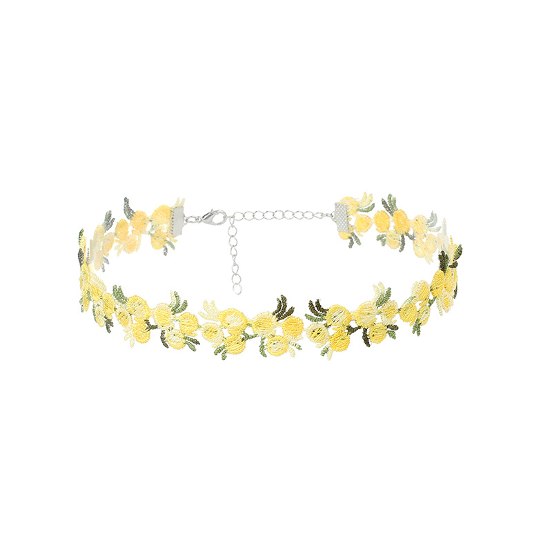 Retro lace tie flower collar choker short clavicle necklace wholesale nihaojewelry NHRN238331