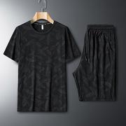 迷彩运动套装男精神小伙套装2020夏季新款休闲男装两件套时尚帅气