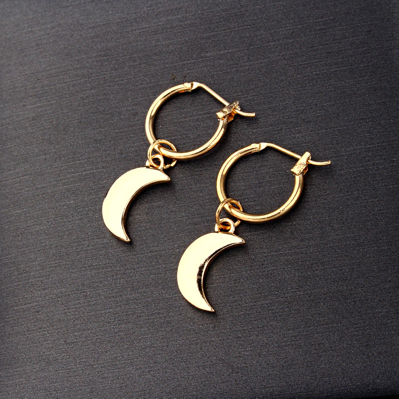 earrings fashion simple and exquisite small moon earrings glossy crescent pendant ear ring wholesale nihaojewelry NHGO230103