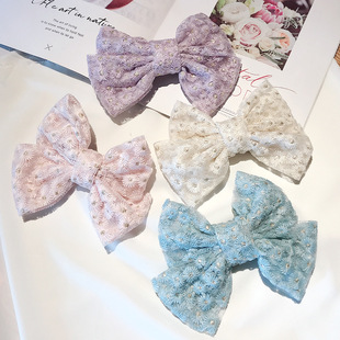 Japan and South Korea big bow embroidery lace chrysanthemum hairpin Sen series heavy industry super fairy embroidery side clip back head hair accessories