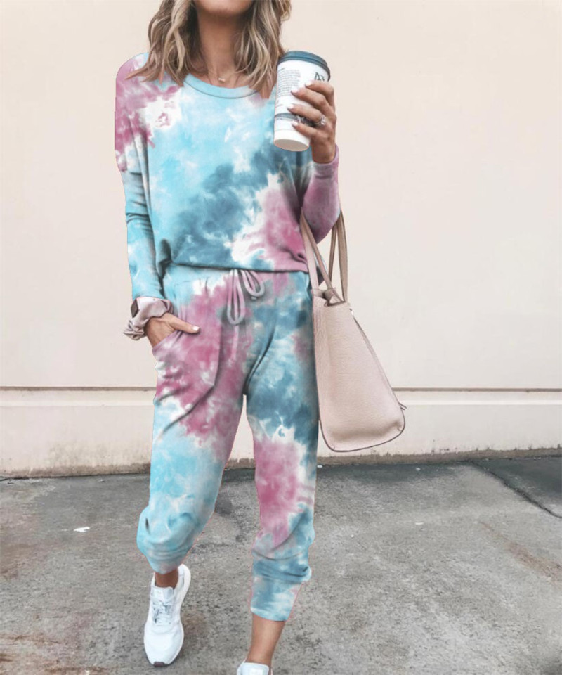 autumn new printed casual home wear long sleeve women's suit NSYF843