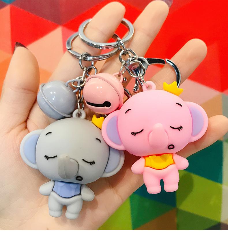 Dibujos animados coreanos lindo pequeño elefante llavero muñeca pareja llavero campana accesorios al por mayor NHBM206959