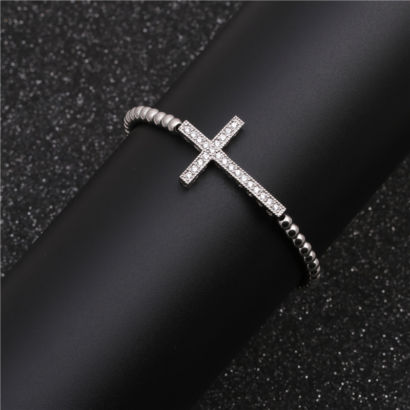 Jewellery for women Brass Zircon Cross Braid Adjustable Bracelet wholesales yiwu suppliers china NHYL202952