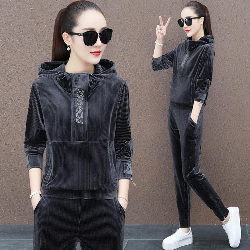 金丝绒运动服套装女春秋冬2020新款时尚宽松卫衣休闲两件套潮