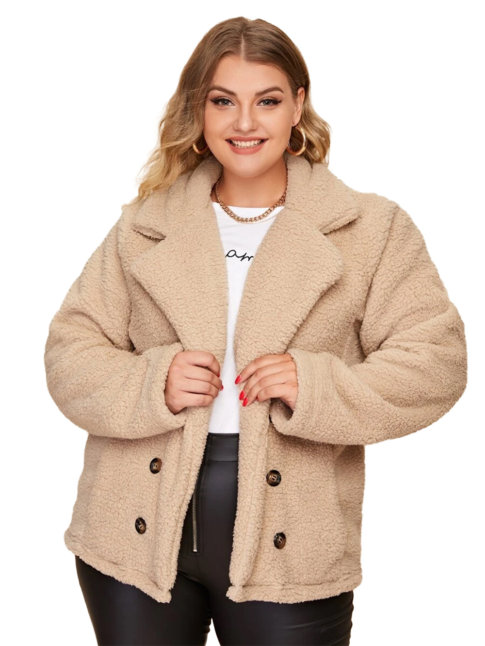 new lapel double-breasted large size lamb wool coat   NSDF3271