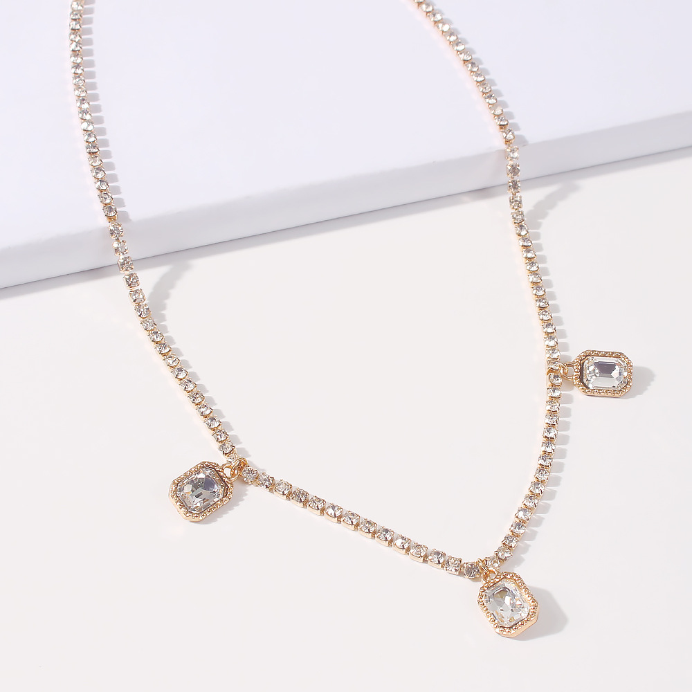 simple women's single-layer micro-inlaid diamond light luxury high-end necklace NHMD269515