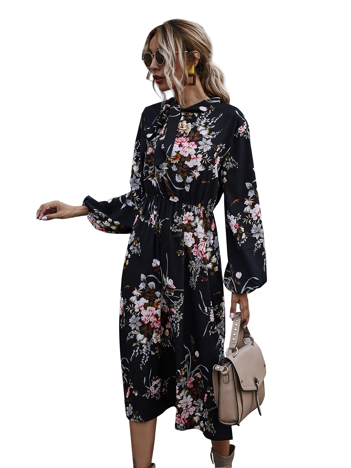 hot black bottom printed puff sleeve stand collar tie bow waist dress wholesale NHDF15