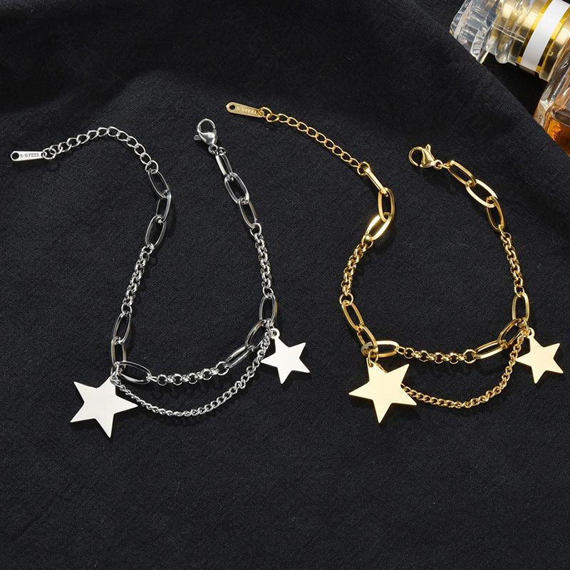 Fashion five-pointed star bracelet titanium steel bracelet simple and versatile stainless steel bracelet wholesale nihaojewelry NHHF237030