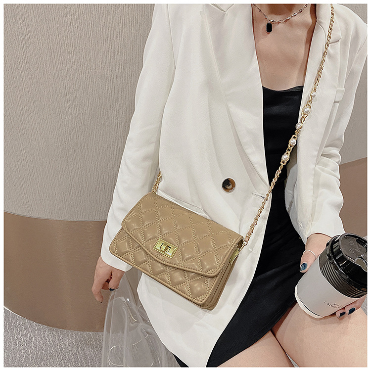 Lingge embroidery thread new fashion allmatch chain shoulder messenger bag small square bag wholesale NHTC249275