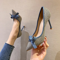 9888-22 han edition fashion pointed high-heeled shoes thin and sexy show thin single shoes bowknot web celebrity joker for women's shoes