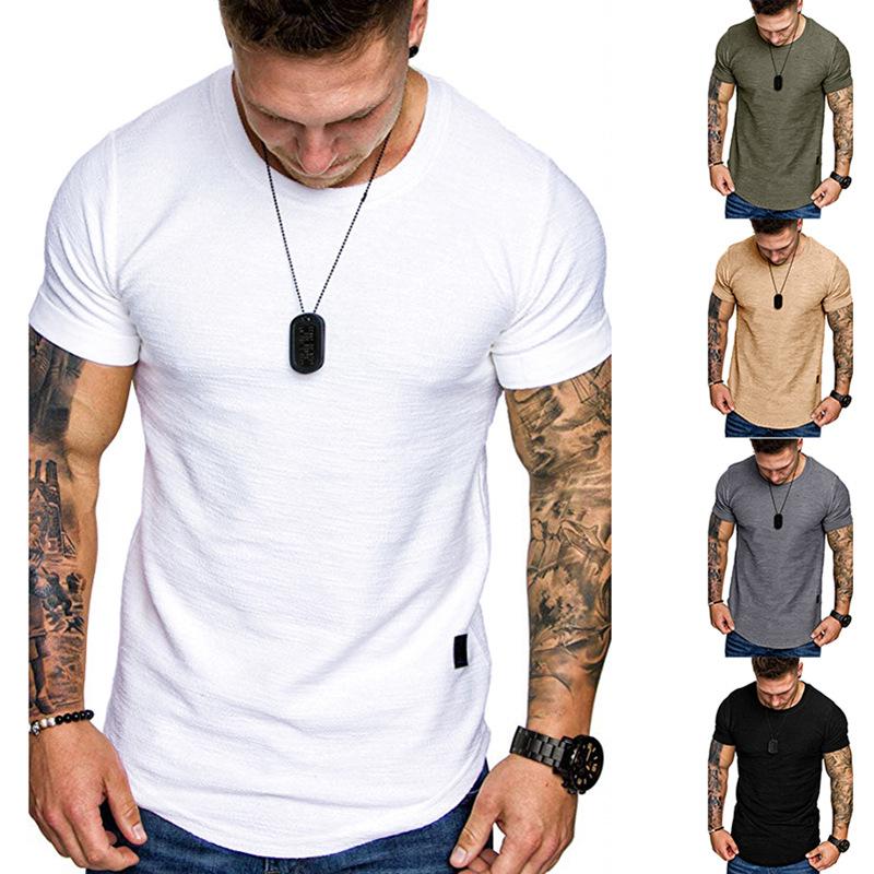 Men T-shirt Slub Cotton Fashion Leather Label Round Neck Casual Short