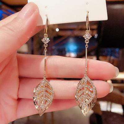 diamond leaf Tassel Earrings women personality Earrings advanced sense Ear Hook Earrings