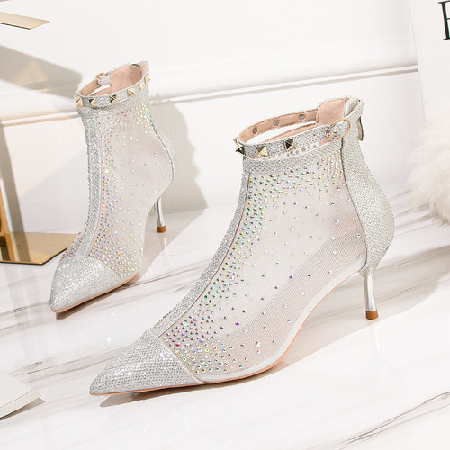 1885-5 European and American wind fashion female boots pointed boots thin diamond thin heels mesh show thin and sexy short boots