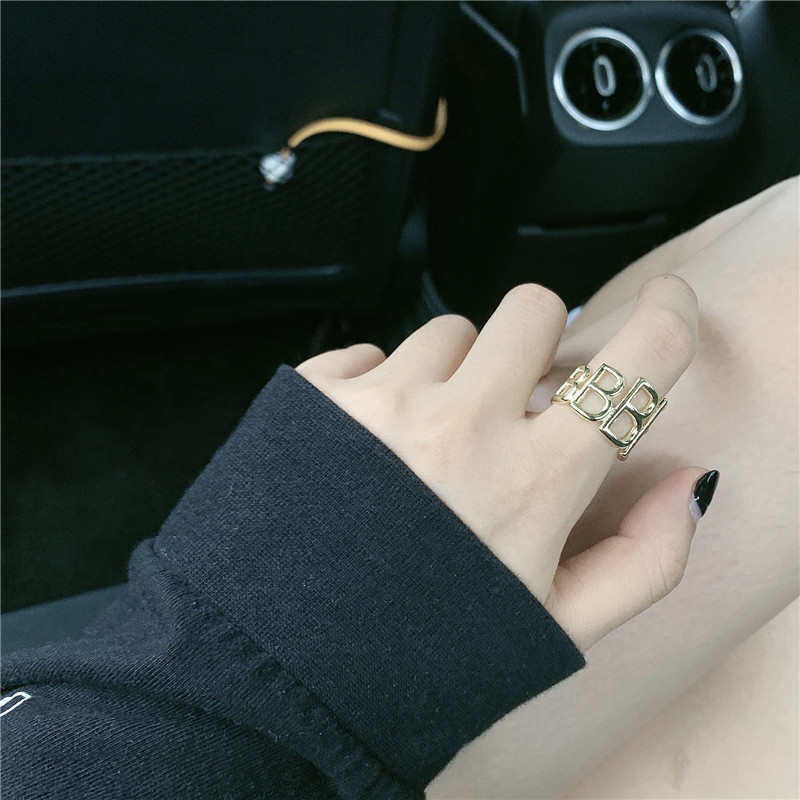simple three-dimensional letter brass opening couple ring adjustable wholesale nihaojewerly NHYQ242993