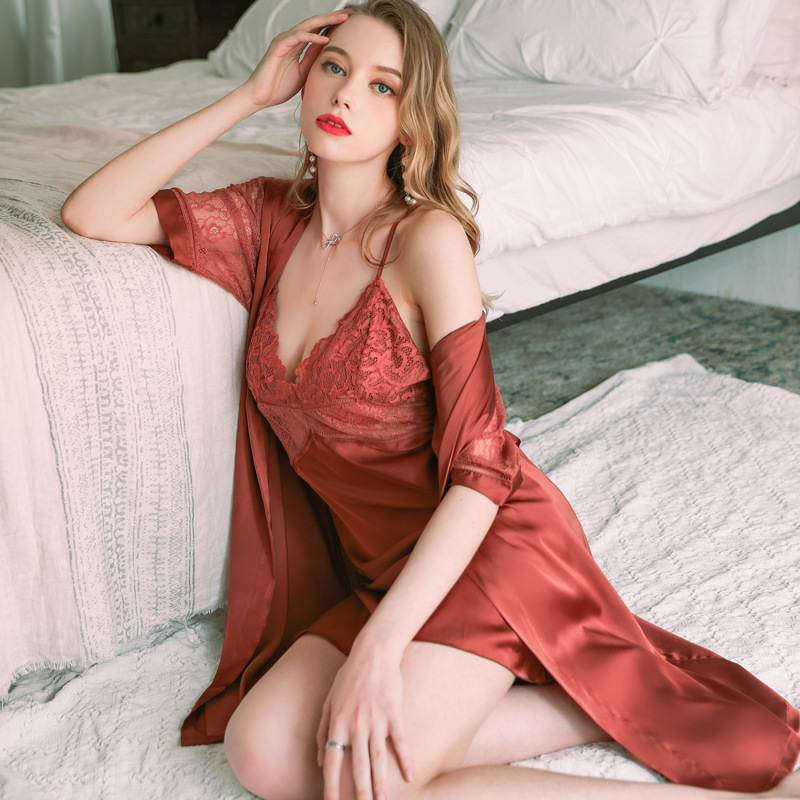 sexy nightgown middle-sleeved kimono-style lace-up robe ladies autumn gown NSMR6991