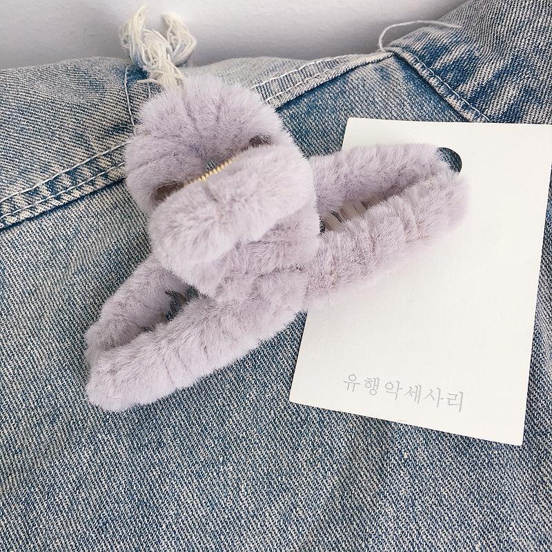 new Korean autumn and winter imitation rabbit fur simple and versatile grasping clip  NHHI269618