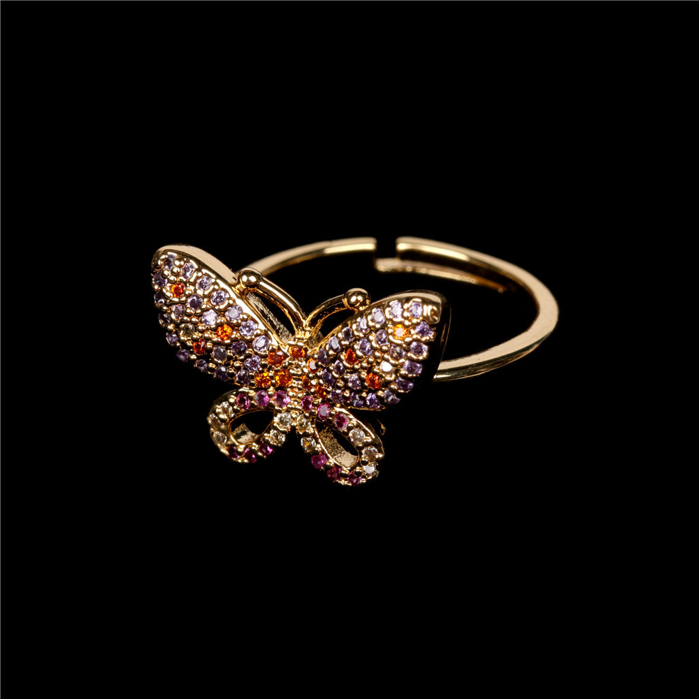 new full of diamond open butterfly ring simple style ring wholesale nihaojewelry NHPY241975