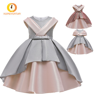 AliExpress 2021 European and American new children's skirts, children's hit color dresses, performance costumes, girls' dresses, princess skirts