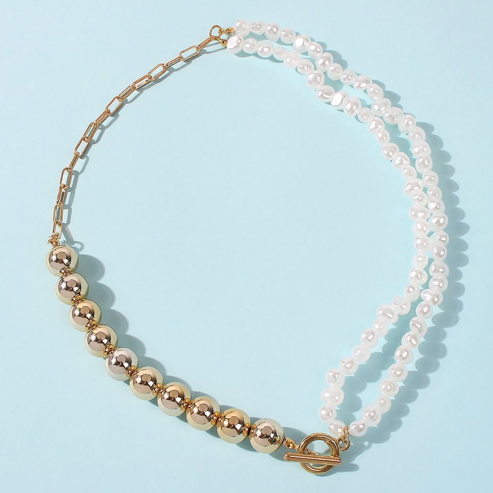 stitching geometric irregular round bead chain imitation pearl creative necklace NHMD272403