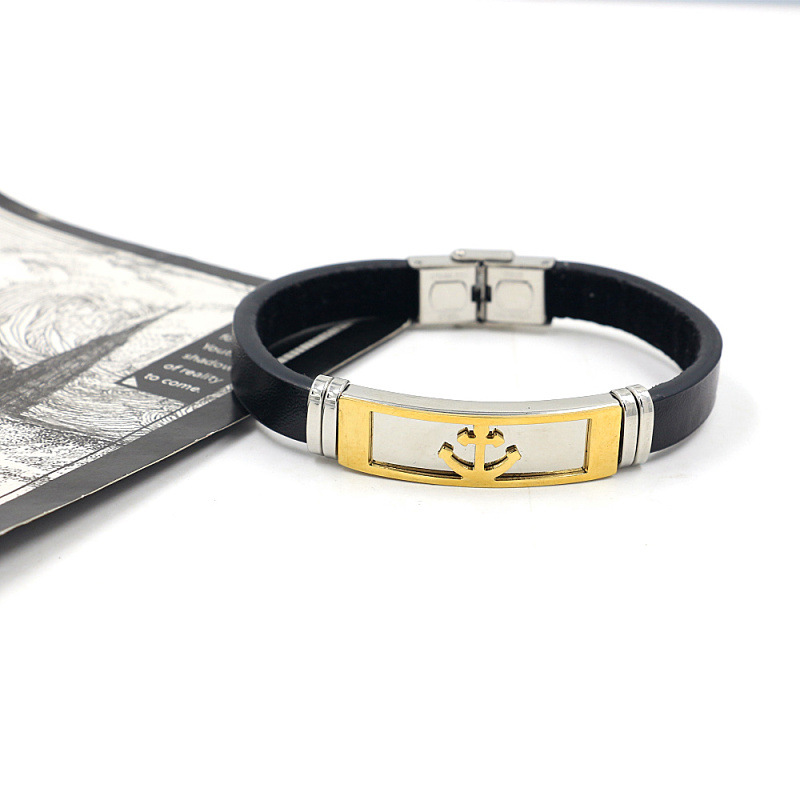 new metal titanium steel leather  gold anchor stainless steel  bracelet  NHHM271359