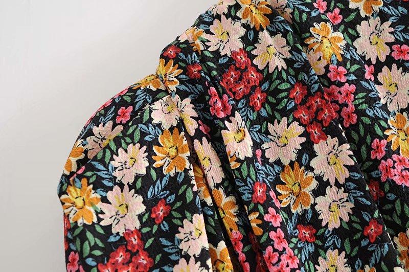 autumn retro dress with shoulder pad printing  NSAM3598