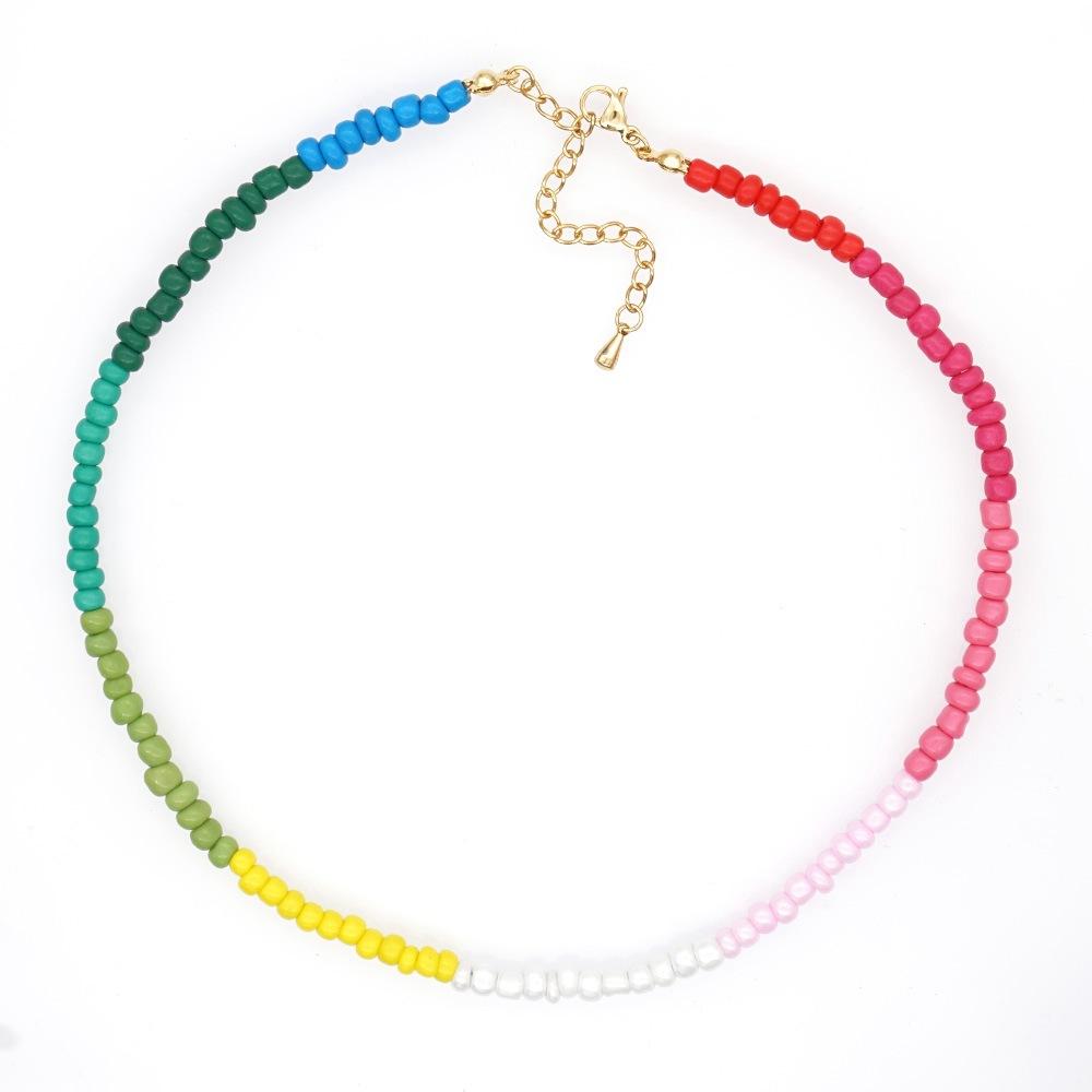 niche design rainbow bead fashion necklace for women jewelry hot-saling NHGW243593