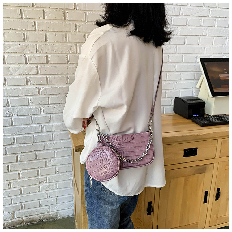 new foreign fashion crocodile pattern single shoulder armpit bag female wild solid color chain portable  bag nihaojewelry wholesale NHPB218772
