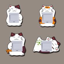 招財貓木質開關保護套簡約現代開關貼墻貼家用創意燈開關裝飾套