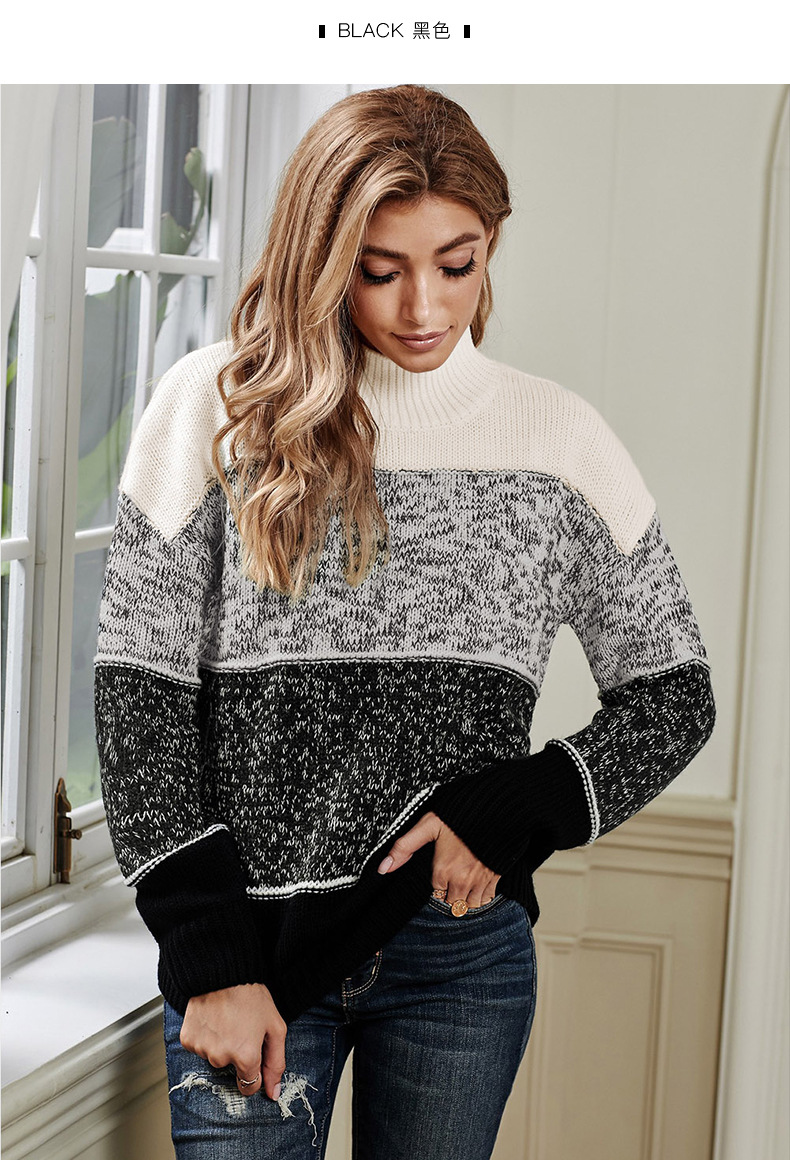 striped long-sleeved high-neck knitted sweater  NSSI2555