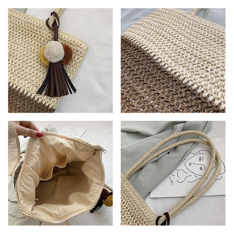 Straw bag  summer new beach bag simple woven bag large capacity single shoulder female bag holiday leisure tassel bag wholesale NHGA227534