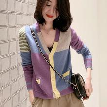 欧洲站2020新款秋装拼色格子毛衣开衫外套女薄款V领羊毛针织小衫