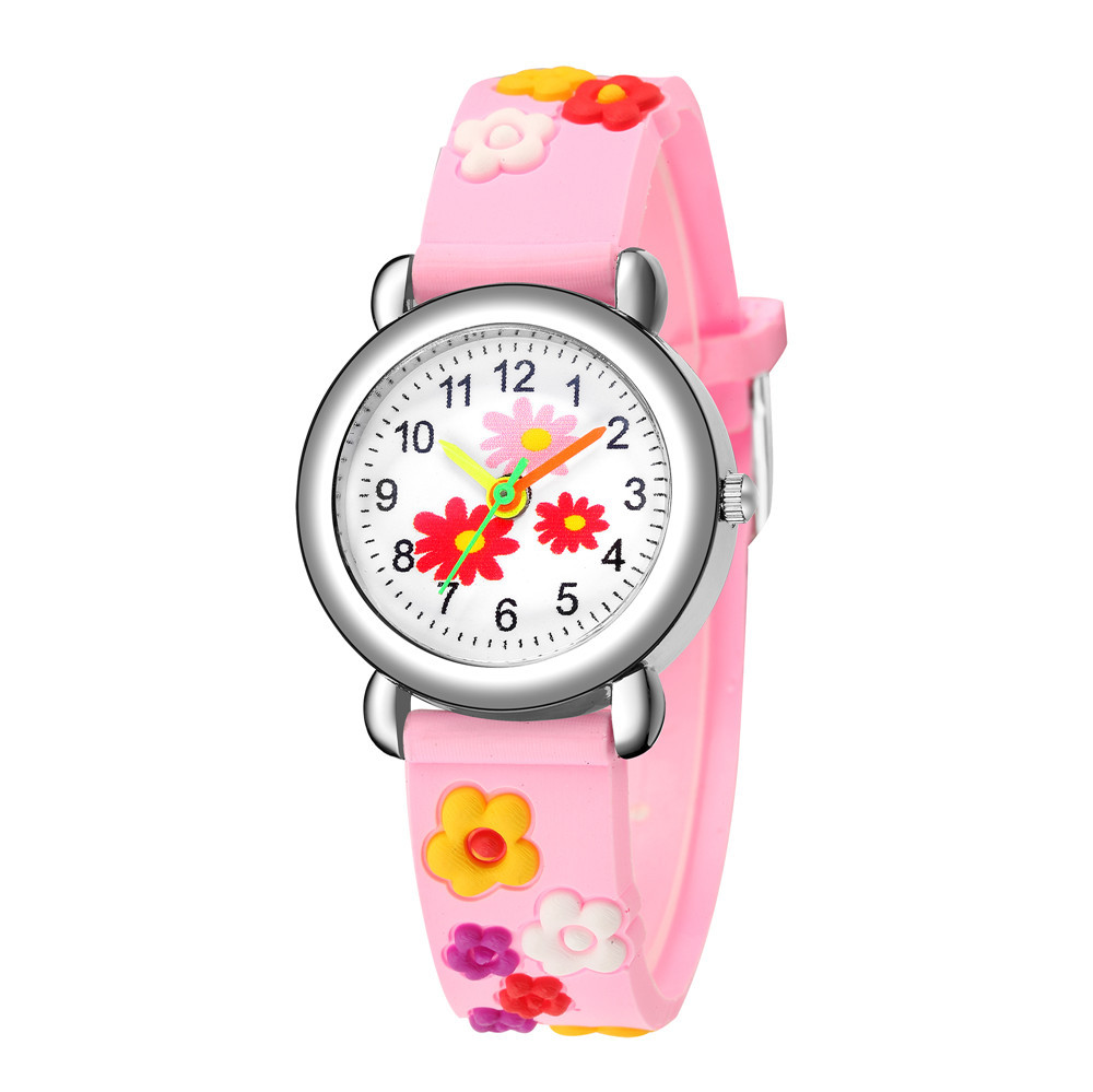 Children's cartoon watch embossed concave plastic band student watch cute flower pattern gift watch NHSS200501