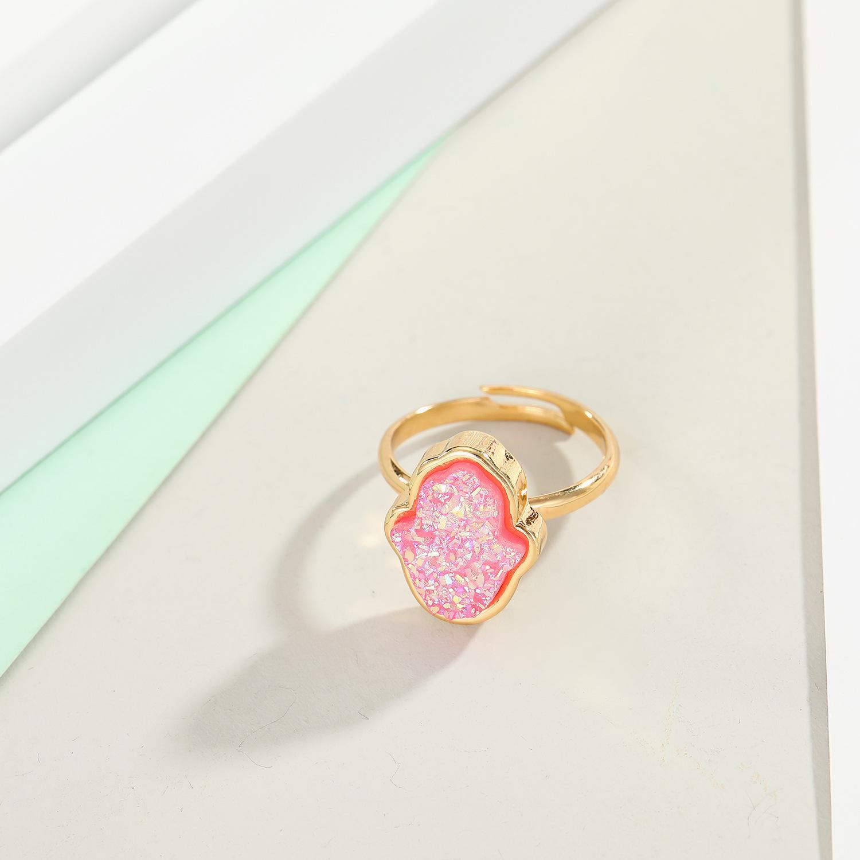 new jewelry imitation crystal bud bergamot ring imitation natural stone Fatima finger ring adjustable ring wholesale nihaojewelry NHGO221337