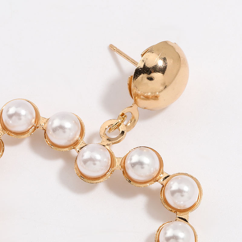 Simple love heart-shaped alloy inlaid pearl geometric earrings for women wholesale NHJE205955
