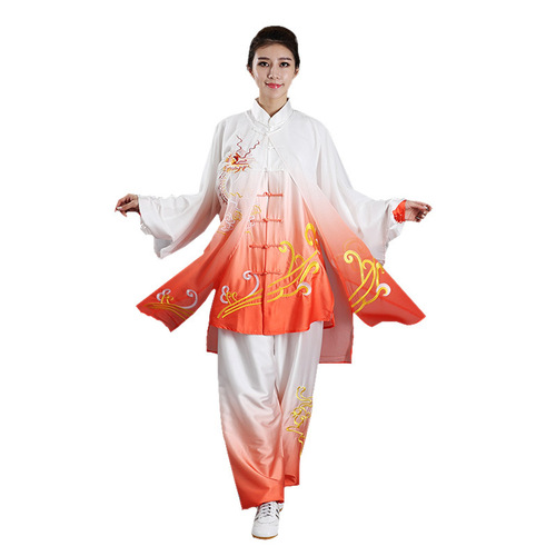 Gradual embroidery tai chi chinese kung fu clothing women's martial arts clothing drape group competition performance clothing training clothing