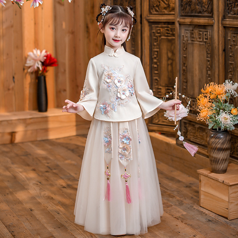 Chinese Hanfu fairy dress girls ancient Ru skirt fairy elegant children two piece cheongsam Tang Dynasty