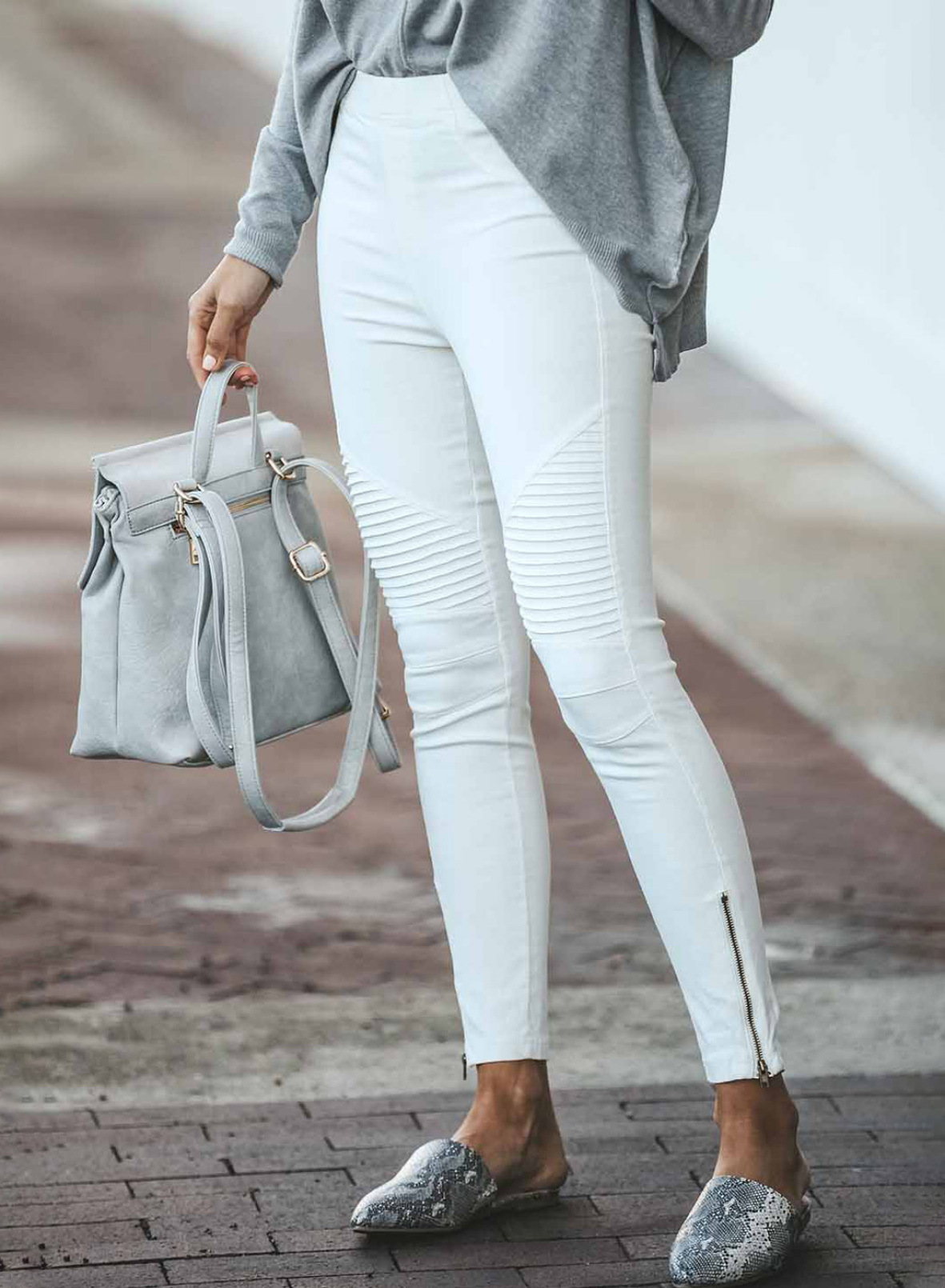 solid color trousers zipper ladies jeans  NSSI2753