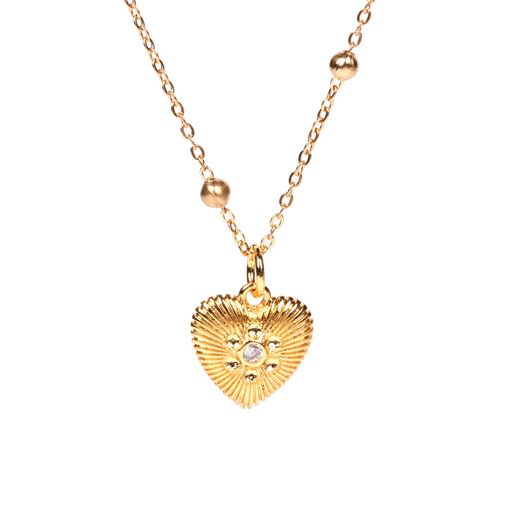 fashion simple Turkish blue eyes heartshaped copper inlaid zircon necklace wholesale NHPY246386
