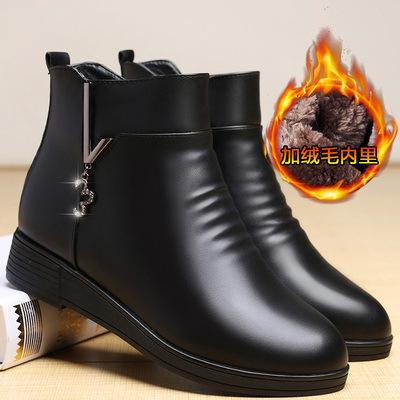 妈妈鞋棉鞋女秋冬季中年防滑软底短靴平底皮鞋加绒靴子中老年女鞋