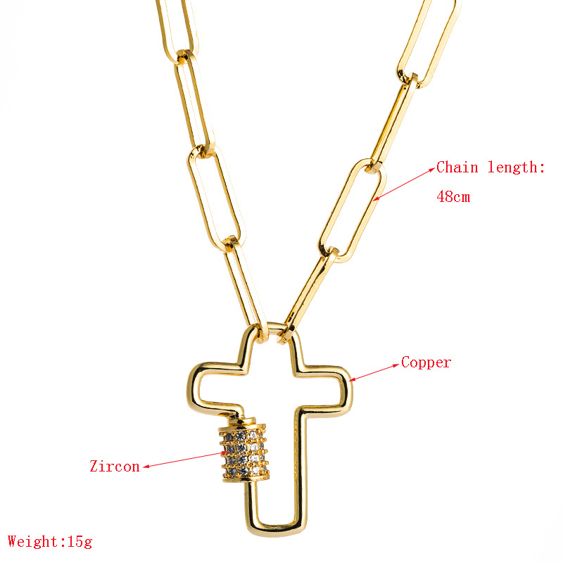 fashion new clavicle chain punk style cross pendant necklace ladies brass micro inlaid zircon Ba ancient chain nihaojewelry wholesale  NHLN233163