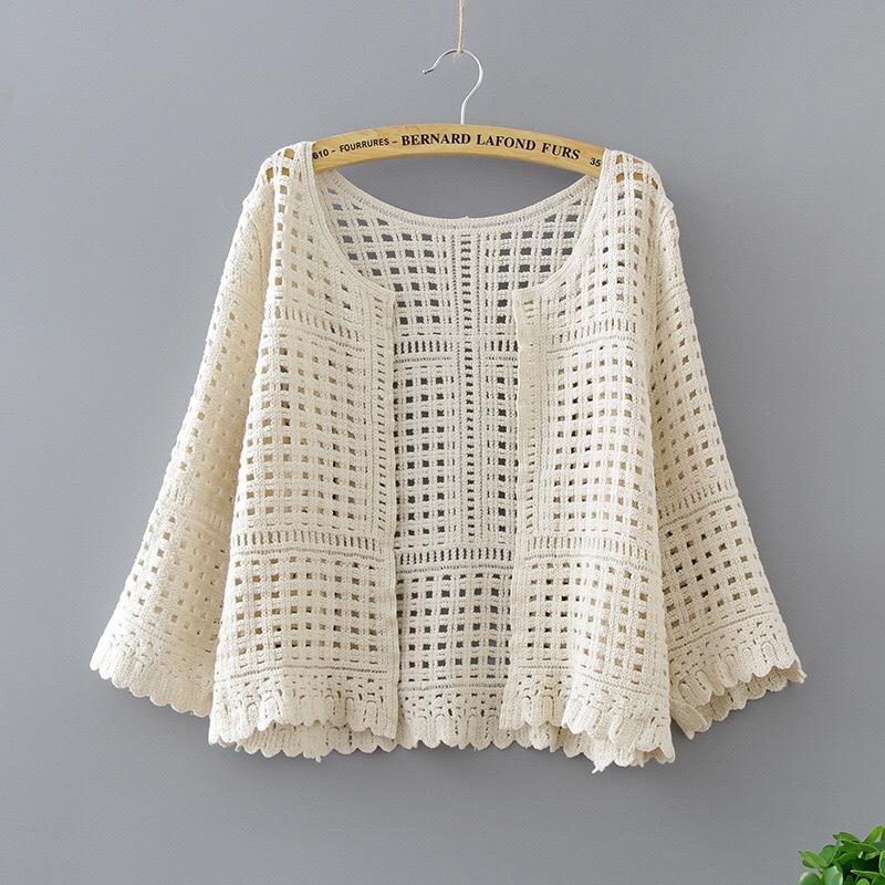 镂空针织衫长袖开衫女春夏季韩版百搭七分袖蕾丝防晒外套空调衫女