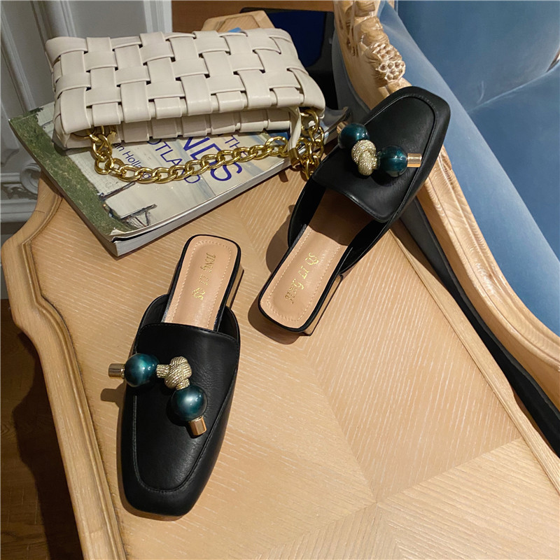 New trendy  fashion square toe thick heel mid heel simple sandals half slippers for women nihaojewelry NHCA239076