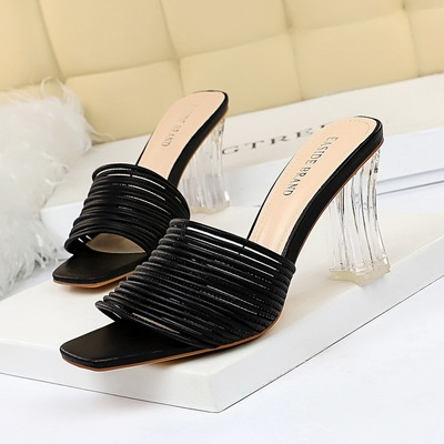2879-1 in Europe and the elegant everyday slippers with transparent crystal with high with square head peep-toe hollow o