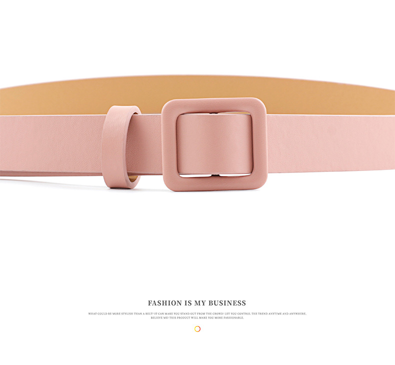 New Fashion Square Buckle Needle-free Perforated Decorative Belt Wild Pure Color Lady Light Body Pu Belt NHPO198262