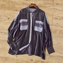 撞色拼接設計~20年春季oversize寬松百搭款小翻領單排扣襯衫上衣