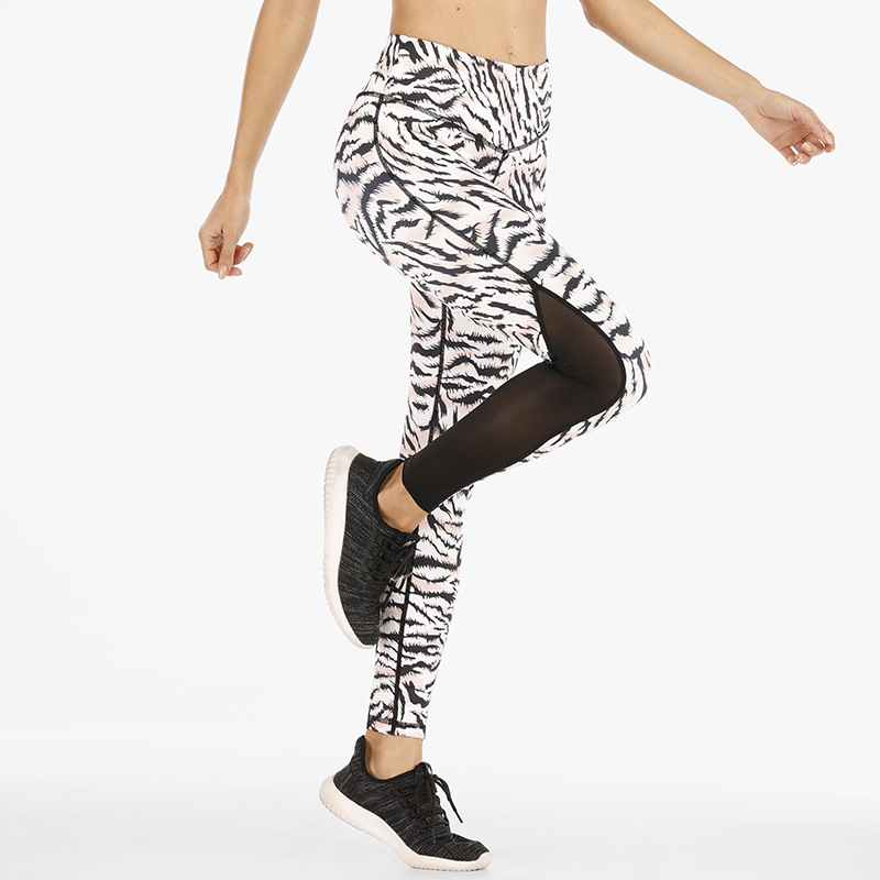 Stretch High Waist Hip Lifting Fitness Pants Printed Yoga Pants Women'S European And American Renewable Yoga Pants   Front Middle Length