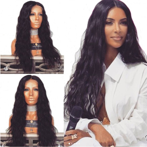 African wig female corn perm black Afro long curly wig  bangs high temperature synthetic fiber headgear