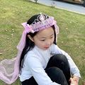 韩国公主发饰儿童表演花环景区热卖披纱柔软发圈花童头饰伴娘头纱